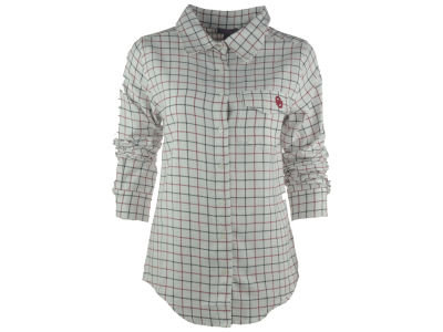 Oklahoma Sooners NCAA Women's Plus Size Boyfriend Fit Plaid Flannel Button Up Shirt