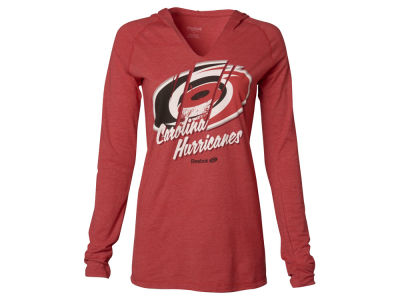 Carolina Hurricanes Reebok NHL Women's Logo Divided Long Sleeve Hooded T-Shirt