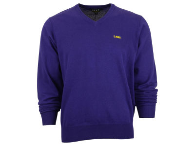 LSU Tigers NCAA Men's Solid V-Neck Sweater
