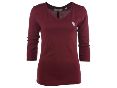 Oklahoma Sooners NCAA Women's Scoopneck Elbow Sleeve T-Shirt