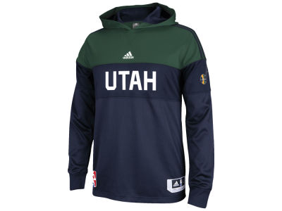 Utah Jazz adidas NBA Men's On Court Long Sleeve Hooded Shooter Shirt