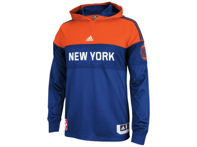 New York Knicks adidas NBA Men's On Court Long Sleeve Hooded Shooter Shirt