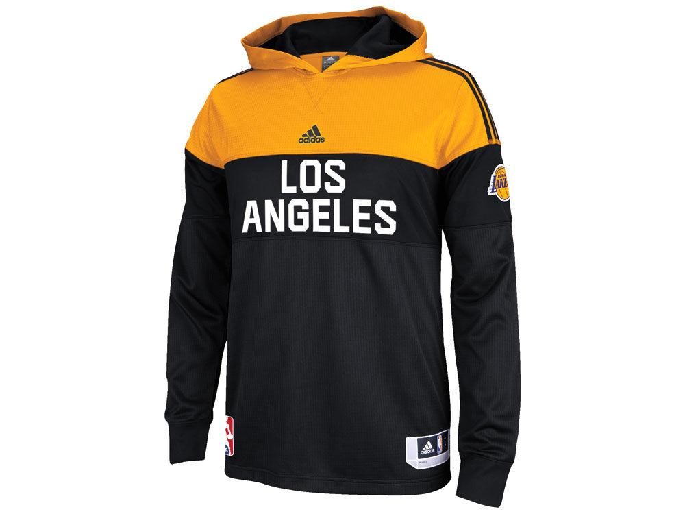 61bec3e73 Los Angeles Lakers adidas NBA Men s On Court Long Sleeve Hooded Shooter  Shirt