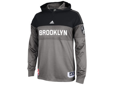 Brooklyn Nets adidas NBA Men's On Court Long Sleeve Hooded Shooter Shirt