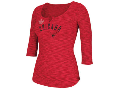 Chicago Bulls adidas NBA Women's Team Sparkler 3/4 Henley T-Shirt