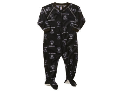 Brooklyn Nets NBA Newborn Piped Raglan Zip Up Coverall