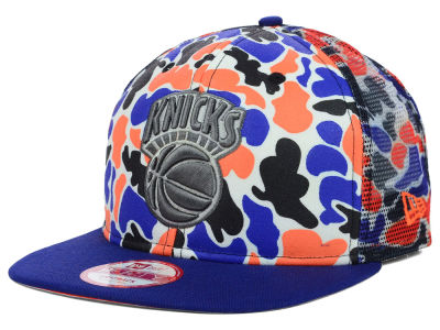 New York Knicks New Era NBA Hardwood Classics Camo Face Mesh Trucker 9FIFTY Snapback Cap