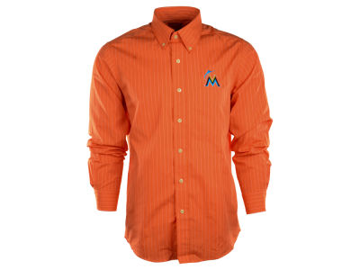 Miami Marlins MLB Men's Achieve Button Up Collar Woven Shirt