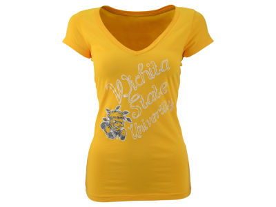 Wichita State Shockers Blue 84 NCAA Womens Scrapt V Neck T-Shirt