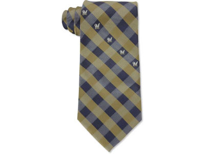 Milwaukee Brewers Polyester Checked Tie