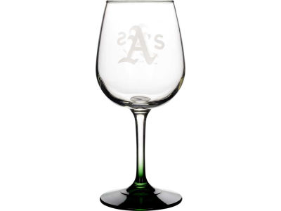 Oakland Athletics Satin Etch Wine Glass