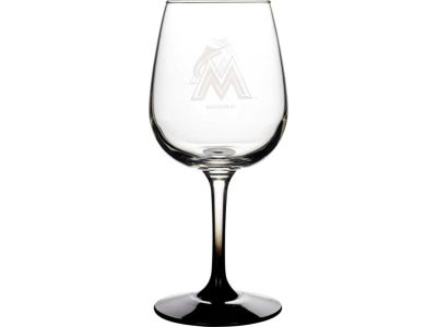 Miami Marlins Satin Etch Wine Glass