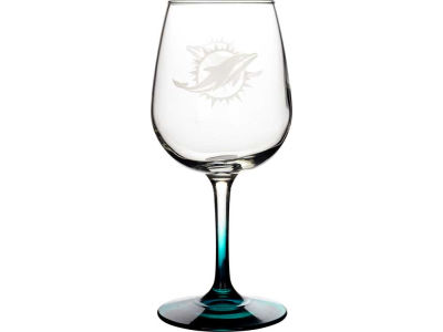 Miami Dolphins Satin Etch Wine Glass