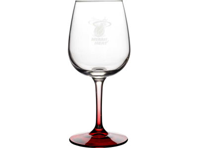 Miami Heat Satin Etch Wine Glass