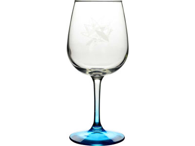 San Jose Sharks Satin Etch Wine Glass