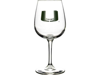 Miami Hurricanes Satin Etch Wine Glass