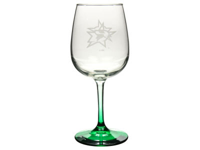 Dallas Stars Satin Etch Wine Glass