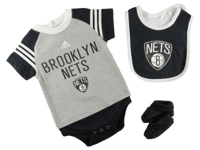 Brooklyn Nets NBA Infant Little Player Creeper, Bib and Bootie Set