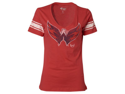 Washington Capitals GIII NHL Womens Sleeve Stripe Logo T-Shirt