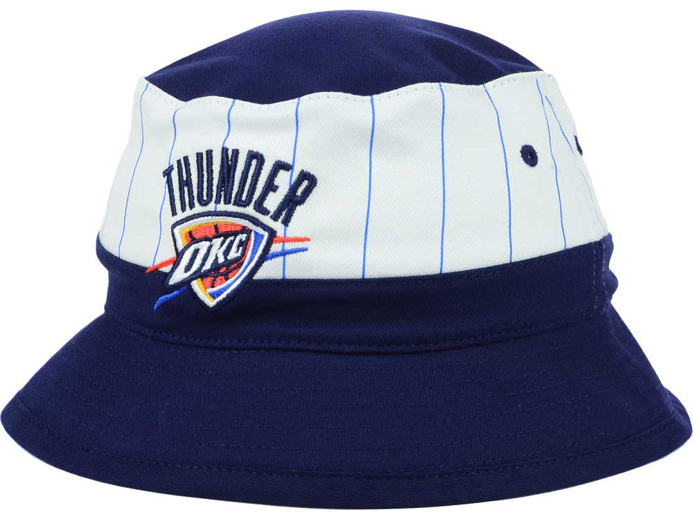 best service fa126 bce20 ... authentic oklahoma city thunder mitchell ness nba pin stripe bucket hat  875cd a139d