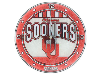 Oklahoma Sooners Art Glass Clock