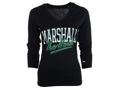 Marshall Thundering Herd NCAA Womens Caroline Long Sleeve Vneck T-Shirt