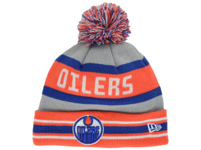 Edmonton Oilers New Era NHL Gray Jake Pom Knit