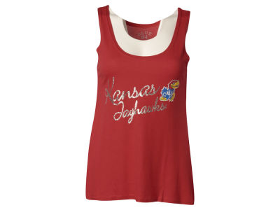 Kansas Jayhawks Blue 84 NCAA Womens Bruno Liquid Tank
