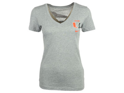 Miami Hurricanes Nike NCAA Womens Tri Mid V Launch T-Shirt