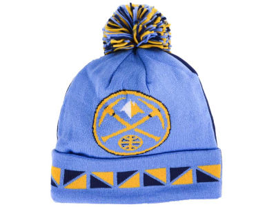 Denver Nuggets Mitchell and Ness NBA 2 Face Cuffed Pom Knit