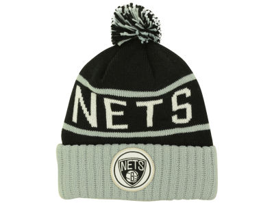Brooklyn Nets Mitchell and Ness NBA High 5 Cuffed Pom Knit