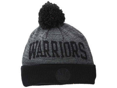 Golden State Warriors Mitchell & Ness NBA Blackout High 5 Cuffed Pom Knit