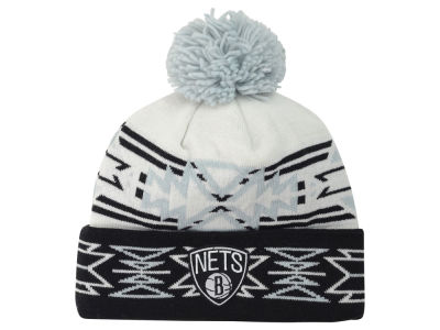 Brooklyn Nets Mitchell and Ness NBA Geotech Cuffed Pom Knit