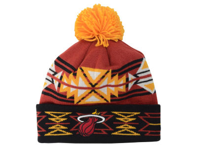 Miami Heat Mitchell & Ness NBA Geotech Cuffed Pom Knit