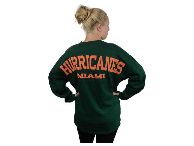 Miami Hurricanes NCAA Women's Sweeper Long Sleeve Solid T-Shirt