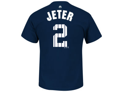 New York Yankees Derek Jeter Majestic MLB Men's Derek Jeter Pinstripe Player T-Shirt