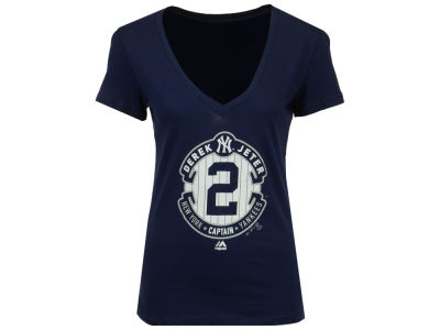 New York Yankees Derek Jeter Majestic MLB Women's Commemorative Logo V Neck T-Shirt