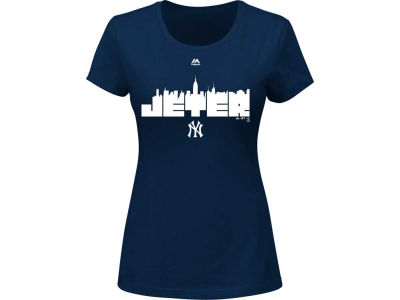 New York Yankees Derek Jeter Majestic MLB Women's Commemorative Skyline T-Shirt