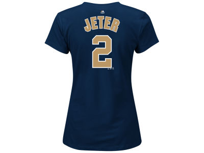 New York Yankees Derek Jeter Majestic MLB Women's Commemorative Gold Name and Number T-Shirt