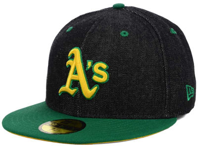 Oakland Athletics New Era MLB Black Denim 59FIFTY Cap