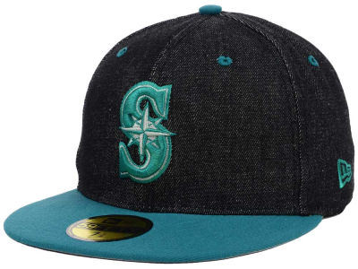 Seattle Mariners New Era MLB Black Denim 59FIFTY Cap