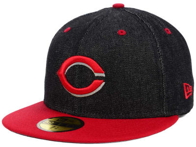 Cincinnati Reds New Era MLB Black Denim 59FIFTY Cap