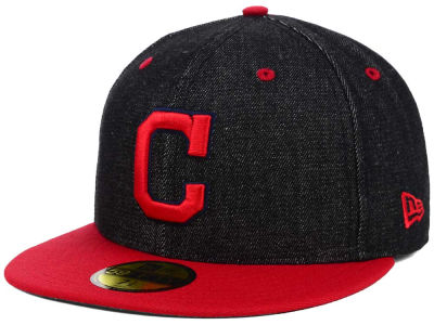 Cleveland Indians New Era MLB Black Denim 59FIFTY Cap