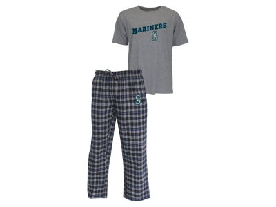 Seattle Mariners MLB Men's Candid Flannel Plaid Pants and T-Shirt Outfit