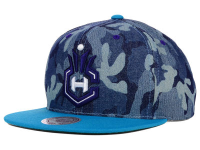 Charlotte Hornets Mitchell and Ness NBA Blue Denim Camo Snapback Cap