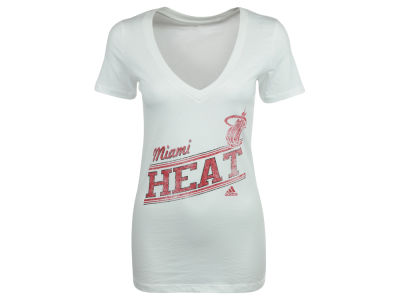 Miami Heat adidas NBA Womens White Hot V-Neck T-Shirt