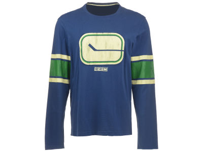 Vancouver Canucks Reebok NHL Men's CCM Long Sleeve Logo Crew Shirt