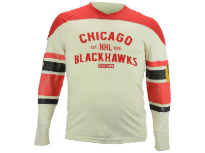 Chicago Blackhawks Reebok NHL Men's CCM Long Sleeve Applique Crew Shirt