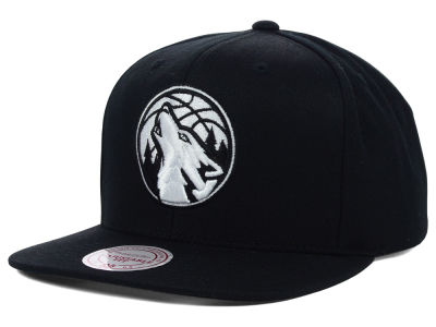 Minnesota Timberwolves Mitchell and Ness NBA Team BW Snapback Hat