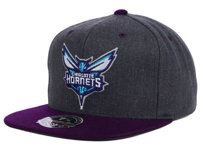 Charlotte Hornets Mitchell and Ness NBA Charcoal Dune 2 Tone Fitted Hat